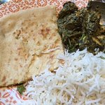 Saag Chicken, basmati rice and peshwari naan - tasty