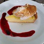 Lemon tart with a berry sauce
