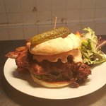 Dirty chicken burger with hand cut chips and tangy burger relish ..and Yorkshire lamb rump with
