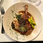 Veal Chop with Morel Mushroom Sauce, Risotto and Baby Squash