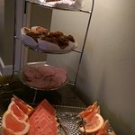 Fresh fruit, breakfast meats (excellent ham and bacon), muffins