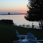Sunrise over Lake Champlain, view from our porch chair