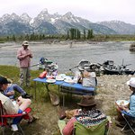 Picnic Lunch on the side of the river with a great view of the Tetons!