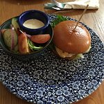 Lunch with my dad today, I had the chicken skinny burger. Really good!