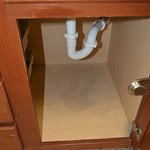 Under the sink. A little water damage but hey, stuff happens. No leaks when in use. Repaird.