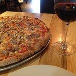 Mushroom and sausage pizza-nice thin crust!