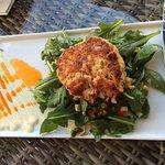Pan Seared Lobster Crab Cake, Smoked Corn Relish, Dijon Creme $17