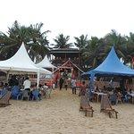 wedding ceremony going on at orange beach bar and restaurant.