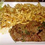 Foie gras, mille feuille de carpaccio, crêpe Tatin