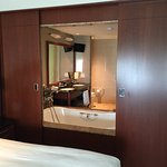 Looking from Bed into bathroom - sliding doors