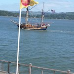 One of the tall ships heading out for an excursions from Coos Bay Boardwalk, past the Mill Casin