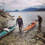 Arriving in kayaks