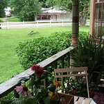 View of original fruit stand from covered porch