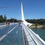 Glass bottom bridge overlooking Sacramento River.