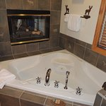 Whirlpool tub and fireplace