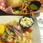 Cevichela's sirloin burguer and shrimp ceviche with maya salsa