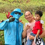 My youngest can't figure out why this guy is blue...entertaining folks
