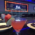 Watermelon martini is really refreshing, the sushi appertizer Salmon Wrap with cucum and sprouts