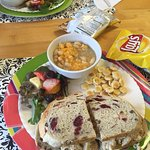 Amazing white bean chicken chili w/ cranberry chicken & pear bacon cheddar sandwich