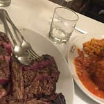 The thick bisteca fiorentina was rare and the best we had in Florence. Bring an empty stomach!
