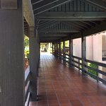 A covered bridge connecting one part of the hotel to another.