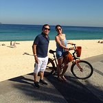 At Copacana Beach with a Brazilian lady biking. Pose for a picture , very friendly.