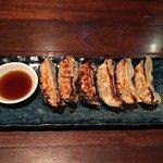 Salmon carpaccio, gyoza, deep fried tofu and eggplant, tempura and pudding