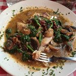snapper with spinach and mushrooms