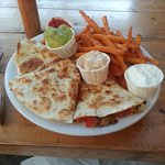 Quesadilla with guacamole and yam (sweet potato) fries