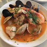Oysters, clam chowder, cioppino, lobster roll