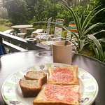 Simple breakfast by ourself. Mean you can enjoy the green view from the balcony.