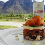 Salmon Stack with BLUSH and a view