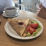 Stilton, bacon with rocket and balsamic crepe and a Brie and cranberry crepe - both amazingly ta