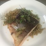 butter poached salmon w/  barley & charred fennel
