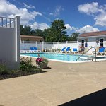 Pool area is LOVELY! Well-maintained, shady areas, gorgeous plantings, private. Free pool towels