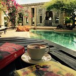 Poolside with a cappuccino