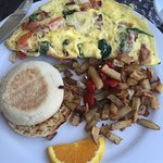 Islander Omelet with Home Fries and English Muffin