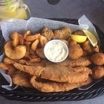 Seafood platter with fresh flounder. This plate was the seafood fix that I was needing!! Delicio