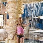 Rain shower in waterpark