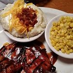 Grilled BBQ chicken, loaded mashed potato and corn