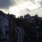This is the view of Burg Rheinfels at dusk, from right in front of the hotel.