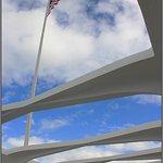 Flag flying over the memorial