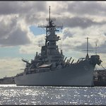 Battleship Missouri from the Launch