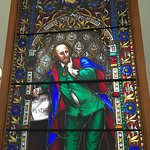 Shakespeare stained glass. View of reading room under the great dome.