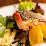 Another favorite meal - Slowly roasted norwegian salmon served with butter-grilled vegetables an