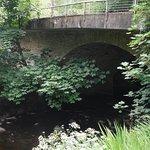 stream and bridge next to hotel