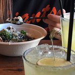 Margaritas and Brown rice and Chicken bowl.
