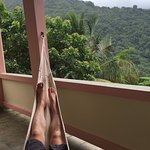 Relaxing in the hammock outside of the room. Amazing views of the rainforest.