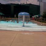 raining mushroom at entrance of wave pool