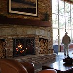 large fireplace in lobby